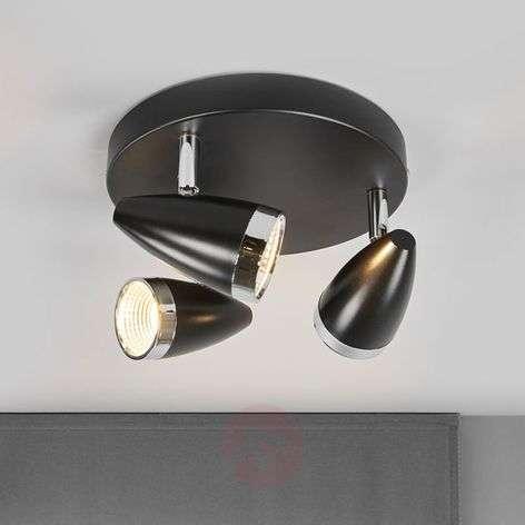 Three-bulb LED ceiling spotlight Ron, black