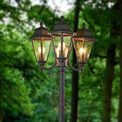 Three-bulb post light Edana in graphite grey