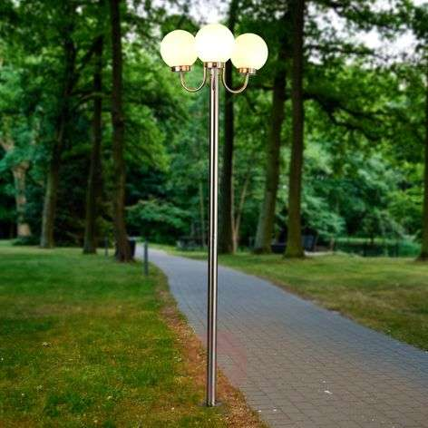 Three-bulb post light Laci, stainless steel