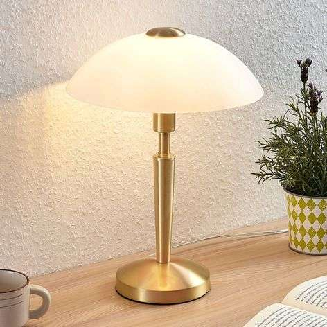 Tibby table lamp, glass lampshade, antique brass