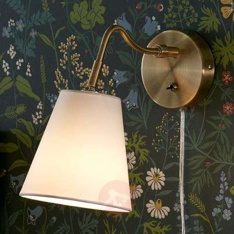 Tindra fabric wall light in antique brass look-6506160-31