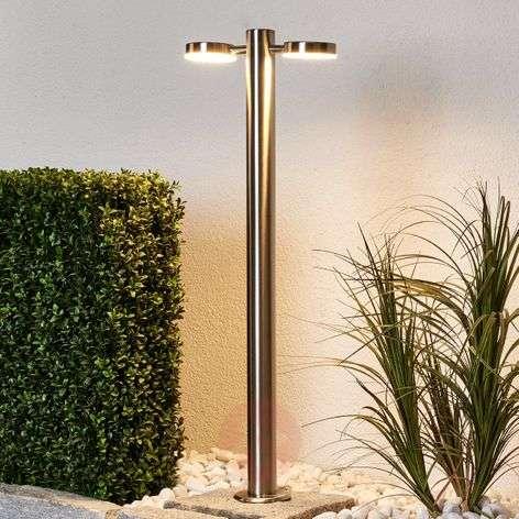 Toriba 2-bulb LED bollard lamp, stainless steel