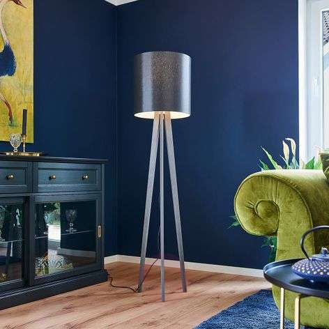 Tripod fabric floor lamp Nida, black-grey