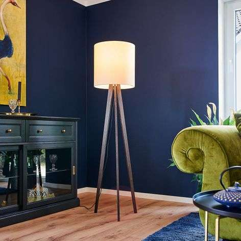 Tripod fabric floor lamp Nida, colonial oak