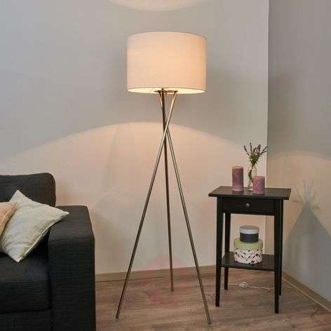 Tripod floor lamp Fiby, white fabric lampshade