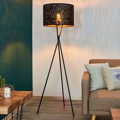 Tripod floor lamp Jules, black and gold
