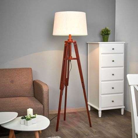 Tripod floor lamp Marvin in wood, height 158 cm