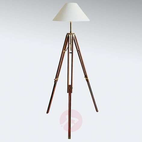 Wooden floor lamps lights tripod floor lamp stativ with white lampshade aloadofball Images