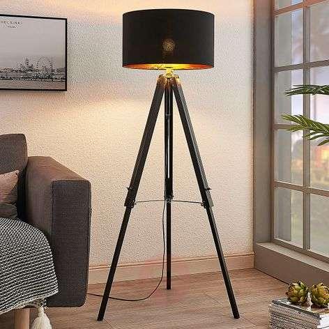 Tripod floor lamp Triac with wooden frame, black