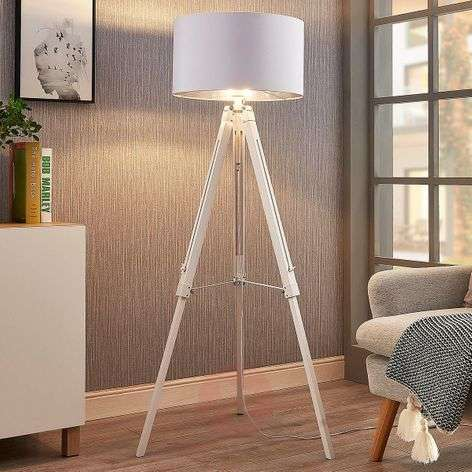 Tripod floor lamp Triac with wooden frame, white