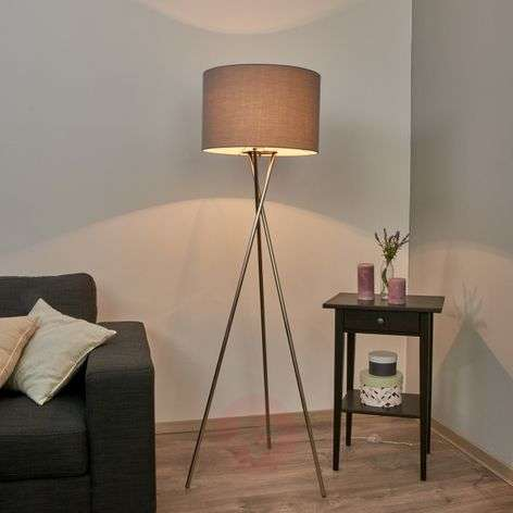 Tripod floor lamp with grey lampshade