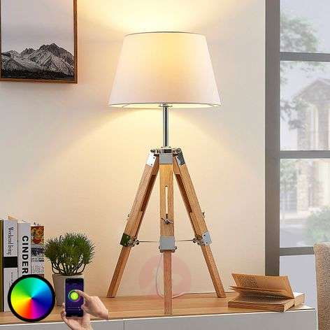 Tripod table lamp Alessa with LED RGB bulb for app