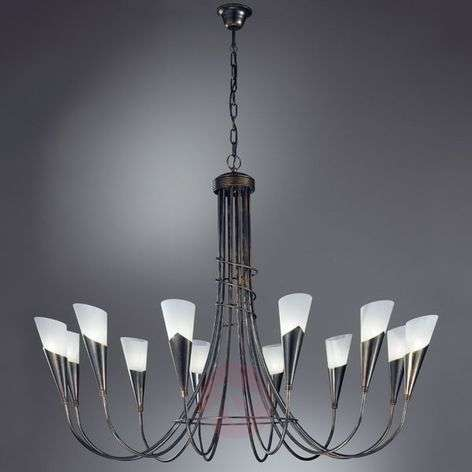 Twelve-bulb black-copper chandelier CAMPAGNOLA