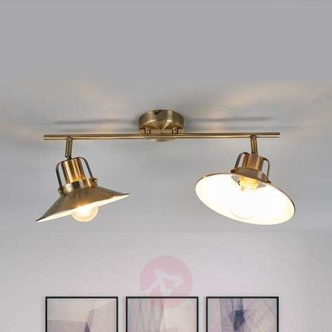 Two-bulb ceiling lamp Arkadia, antique look