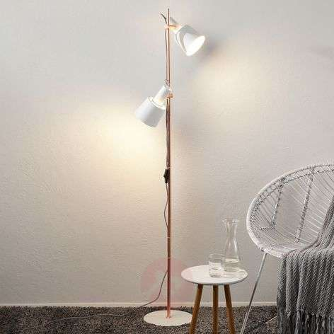 Two-bulb floor lamp Haldar in white/copper