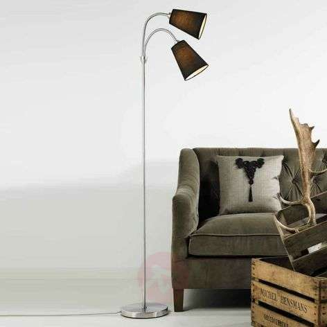 Two-bulb floor lamp Lelio with flexible arms