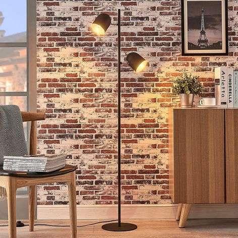 Two-bulb floor lamp Morik, black-gold-9624162-32