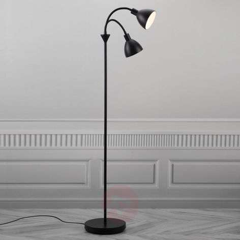 Two-bulb floor lamp Ray made of black metal