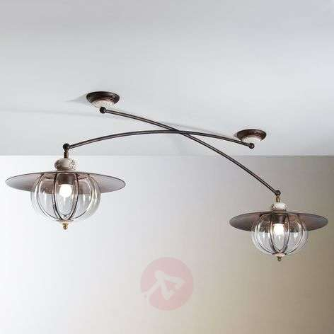 Two-bulb Lampara ceiling light in country style