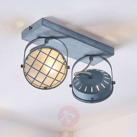 Two-bulb LED ceiling lamp Tamin, smoky grey