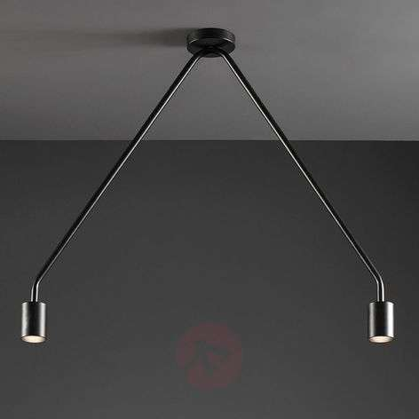 Two-bulb LED ceiling light Caos in black
