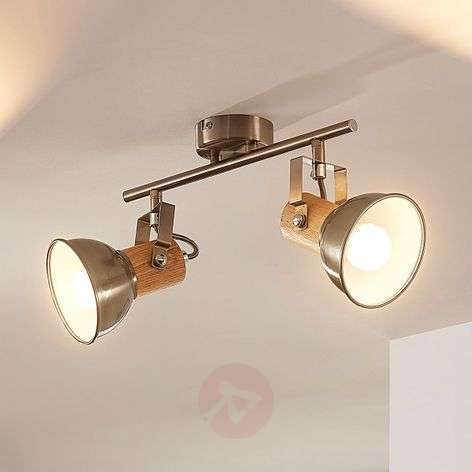 Two-bulb LED ceiling light Dennis with wood