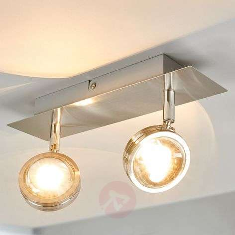 Two-bulb Pablo LED ceiling lamp with glass lenses