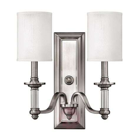 Two-bulb wall lamp Sussex, brushed nickel
