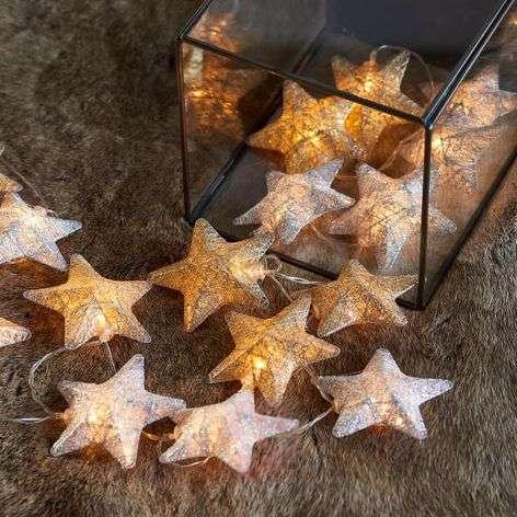 Two-colour LED string lights Bolette stars 20-bulb