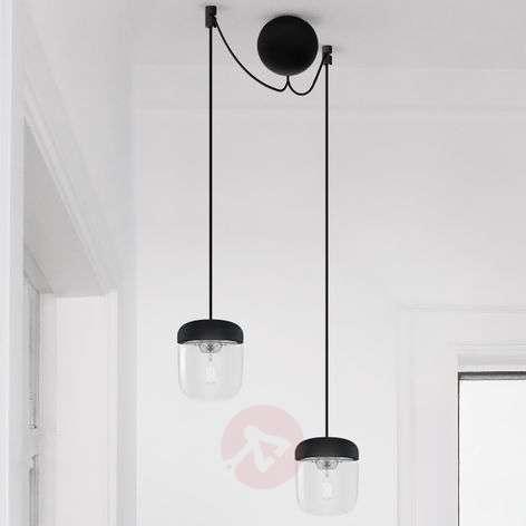 UMAGE Acorn hanging lamp two-bulb, black/steel