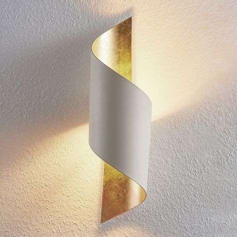 Vanni metal wall light, twisted, white and gold