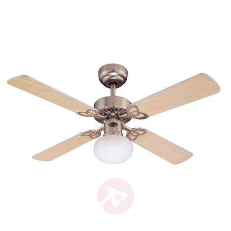 Vegas ceiling fan with light in brushed aluminium