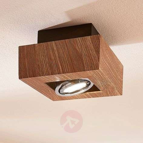 Vince LED ceiling light, 14 x 14 cm, wooden optic