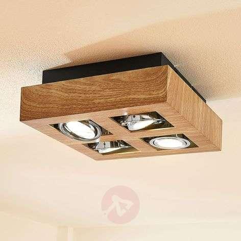 Vince LED ceiling light, 25 x 25cm, wooden optic