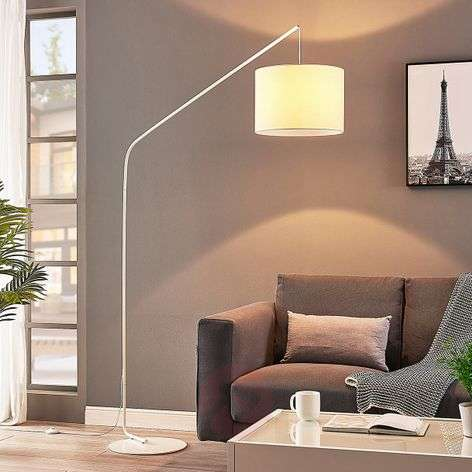 Viskan - floor arc lamp in white