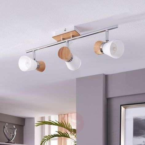 Vivica - 3-bulb ceiling lamp with wooden elements