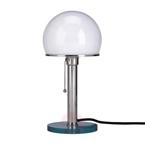 Wagenfeld table lamp with glass base and metal rod