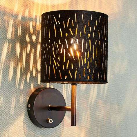 Wall light Jules, velvet lampshade, black and gold