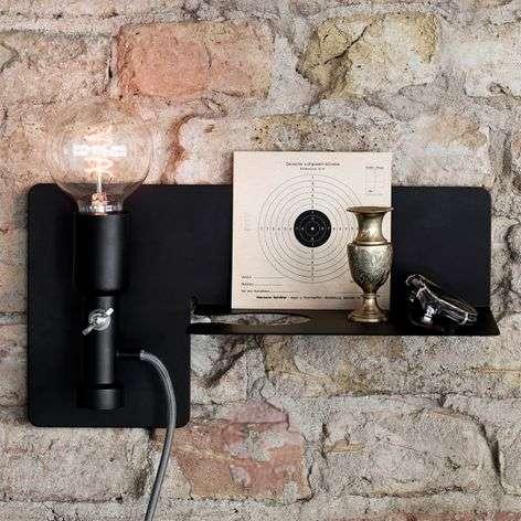 Wall light Sunday with shelf, black