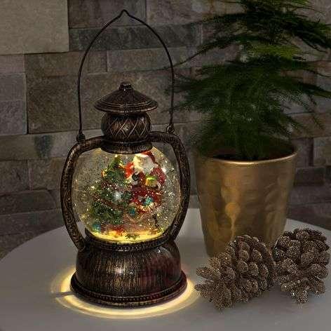 Water-filled LED globe lantern Santa Claus