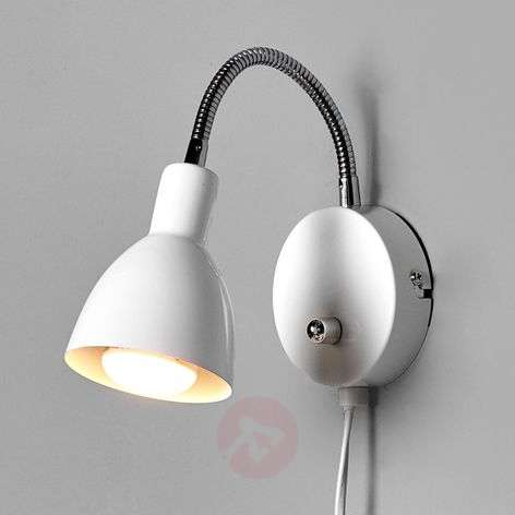 White Amrei metal wall light with dimmer