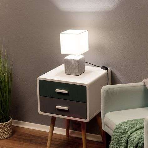 White and grey table lamp Wanda, fabric lampshade