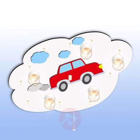 White children's ceiling light Cloud with car
