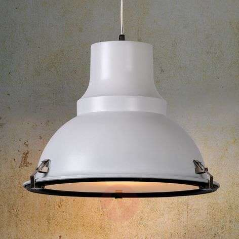 White FACTORY hanging light with industrial design