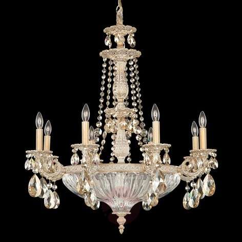 White-gold chandelier Milano with crystals