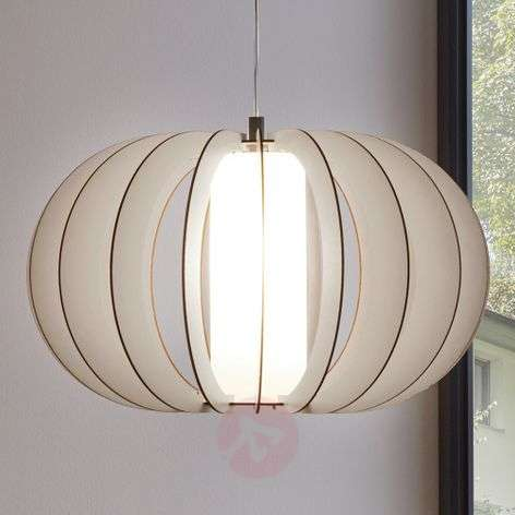 White hanging light Stellato with wood slat shade