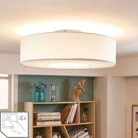 White LED fabric ceiling lamp Ragnar, 4-stage dim.