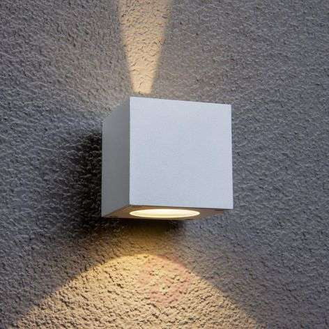 White LED outdoor wall light Jarno, cube form
