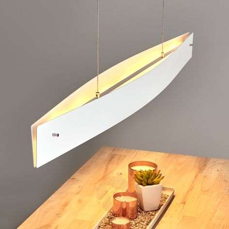 White Malu LED pendant light, dimmable, 119cm