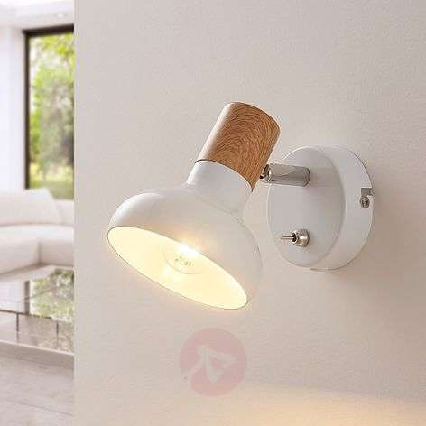 White metal spotlight Fridolin with switch